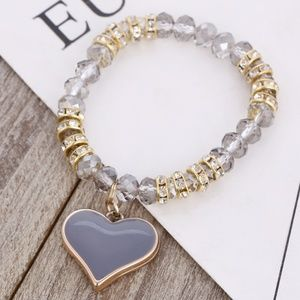 Stretch Bracelet- NEW- Gray Heart with Beads